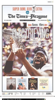 The front page of today's Times-Picayune Super Bowl XLVII Extra 2/4/13