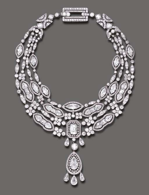 Doris Duke: one of the most important pieces of the collection is a magnificent Belle Époque diamond and pearl necklace by Cartier, circa 1908.