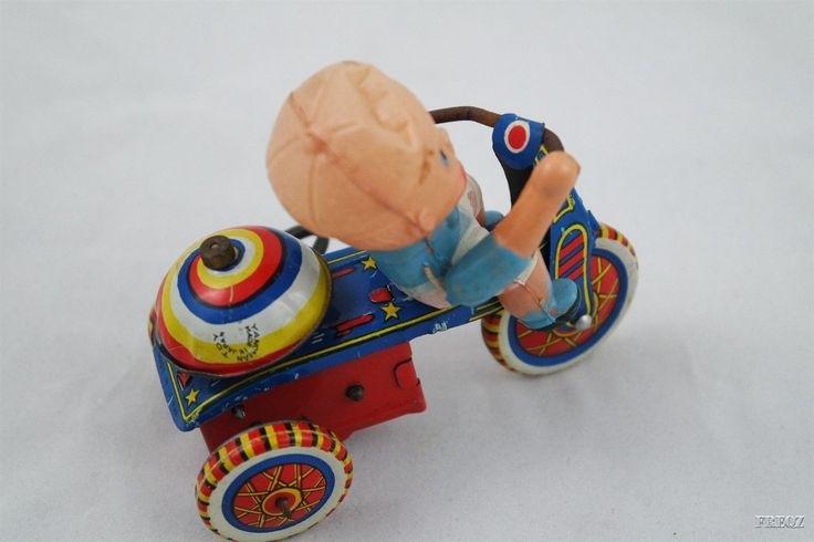 Vintage Yanoman Toy Made in Japan Plastic Boy on Tin Wind-Up Tricycle Toy w/Key | eBay