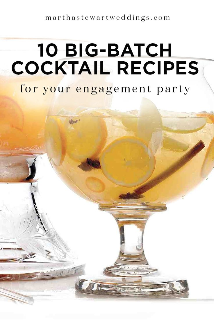 10 Big-Batch Cocktail Recipes for Your Engagement Party | Martha Stewart Weddings - Punch gives any party just that—punch! And at a celebration as special as an engagement party (or holiday party!), you certainly want that.