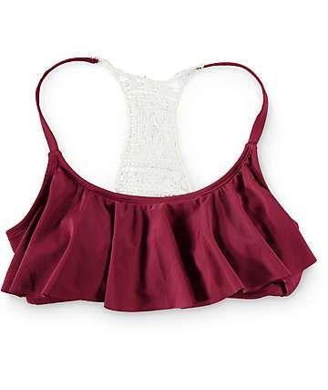 Trillium Burgundy Crochet Flounce Bikini Top