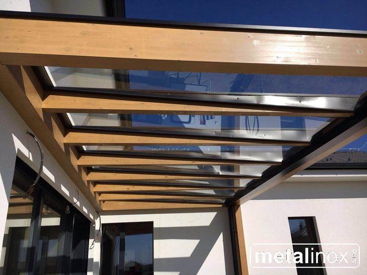 Drevený prístrešok Modern s krytinou sklo Wooden shelter house with glass Wooden pergola with glass