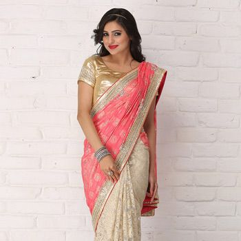Old Rose Faux Crepe Jacquard and Net Jacquard Saree with Blouse