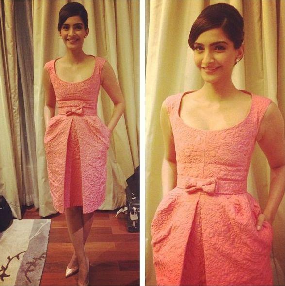 Sonam Kapoor in a pink Louis Vuitton dress.