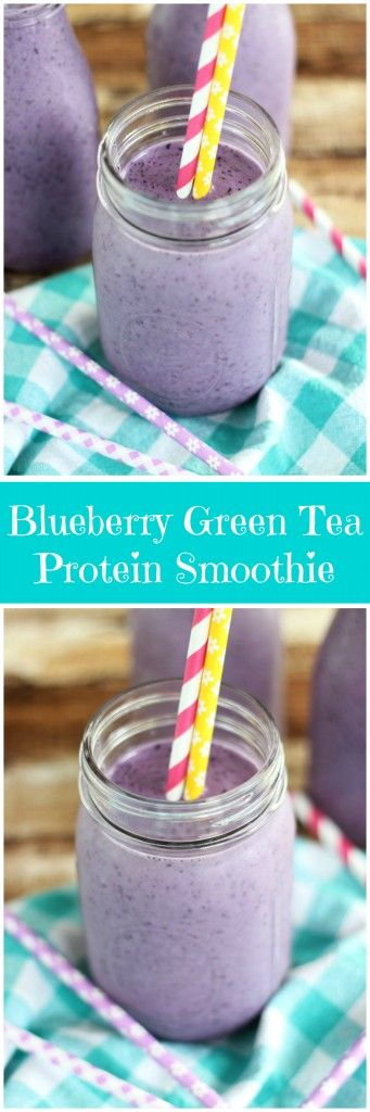 Frozen blueberries and raspberries, iced green tea, and protein powder are blended into a filling, healthy, nutritious smoothie! #MeAndMyTea #ad @BigelowTea