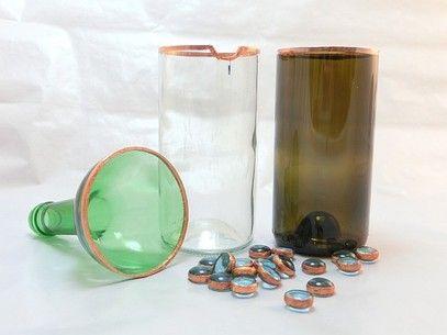 Vasen/Teelichthalter aus Flaschen in Tiffanytechnik - Atelier Träume aus Glas