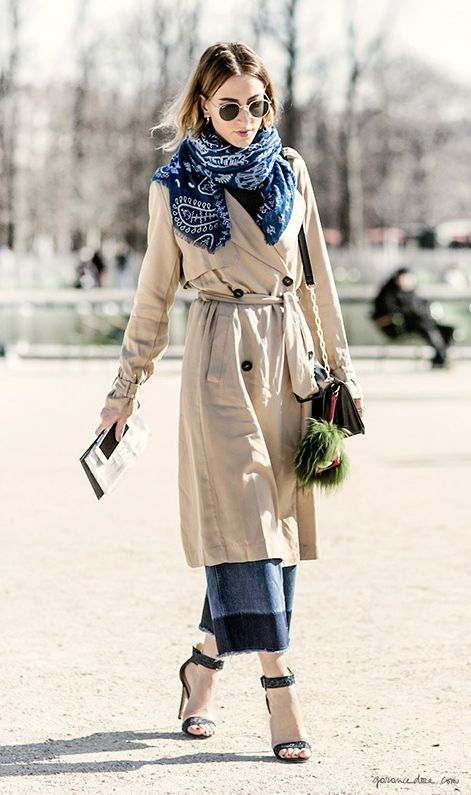 Trench coat, cropped jeans, indigo scarf, street style, Paris Fashion Week / Garance Doré