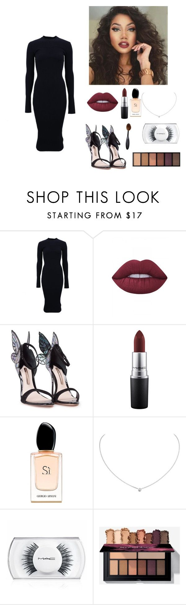 """now youll kiss me.."" by seniora ❤ liked on Polyvore featuring Victoria Beckham, Lime Crime, Sophia Webster, MAC Cosmetics, Giorgio Armani and Cartier"