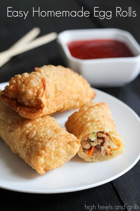 Easy Homemade Egg Rolls. These taste just like they do in a restaurant. If not, better. http://www.highheelsandgrills.com/2014/02/easy-homemade-egg-rolls.html