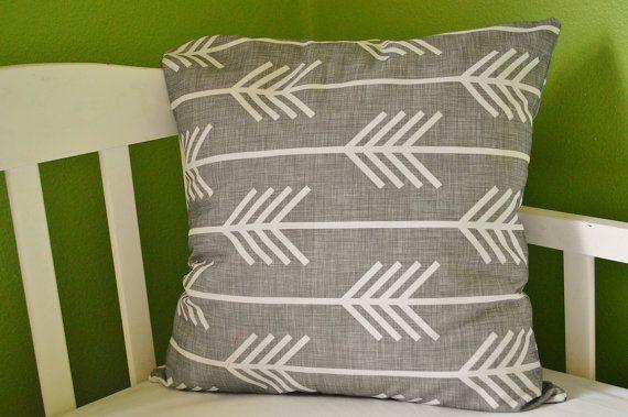 Grey Arrow Pillow Case  Pillow Sham  16x16 or 18x18 by ModFox, $35.00