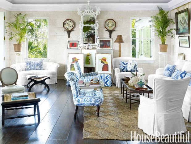 Inspired by 18th-century Caribbean plantations, the great room in designer Amanda Lindroth's Lyford Cay, Bahamas, house exudes a gracious ease.