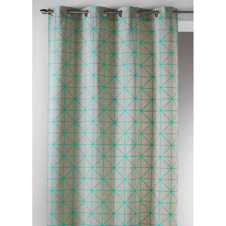 Rideau prêt-à-poser à motifs graphiques / géométriques. Toile de coton imprimé origami bleu turquoise sur fond beige. 140x260cm.