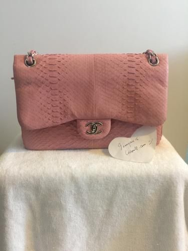 387b566a597 CHANEL Pink Matte Python Jumbo Double Flap Bag   Lollipuff   Luxe Only Louis  Vuitton  Chanel  Hermes   Pinterest