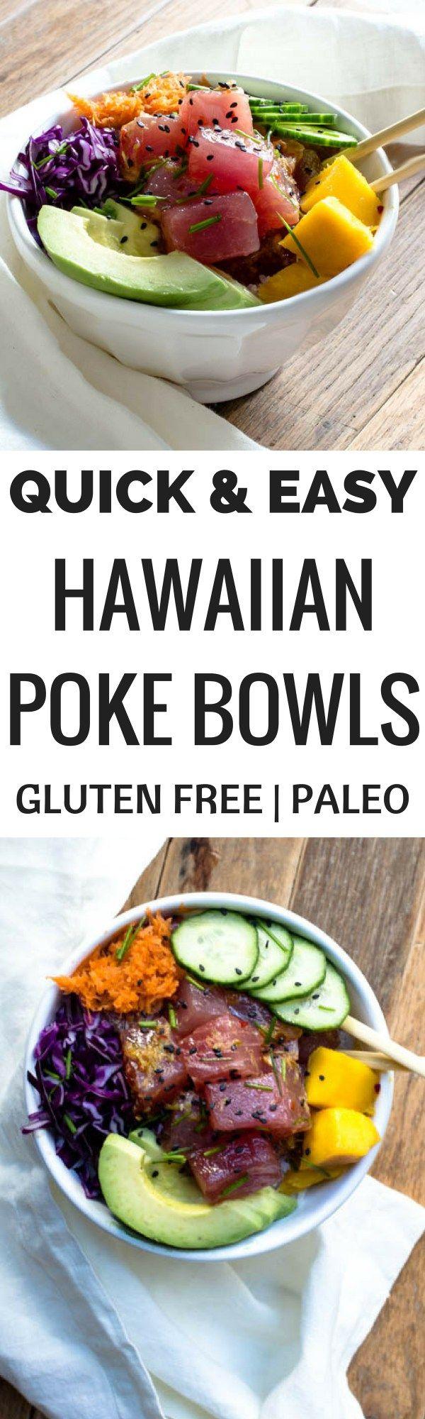 Quick and easy Hawaiian poke bowls recipe. Paleo poke bowls. Healthy, homemade, gluten free poke bowl recipe. Tuna poke bowls. How to make the perfect poke bowl at home!