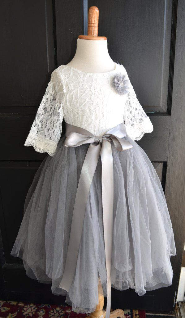 Flower girl Tutu dress, Girls Dove Grey Long Tulle Skirt lace blouse, Gray Tutu, Skirt blouse set, Flower girl dress, Mercury