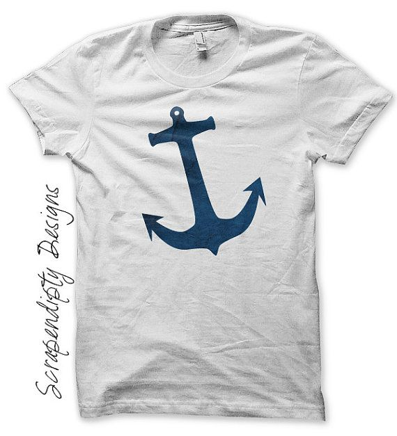 Nautical Iron on Shirt PDF - Anchor Iron on Transfer / Mens Nautical Shirt / Baby Boy Anchor Tshirt / Blue Sailing Design / Digital IT239