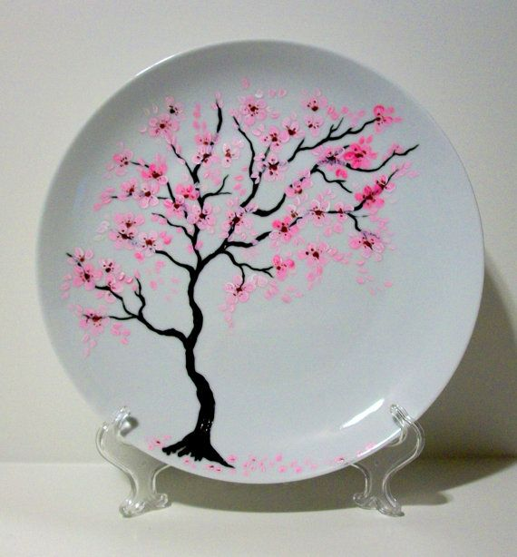 Handpainted Wedding Plate Cherry Blossoms Free Personalization With Your Names and Date