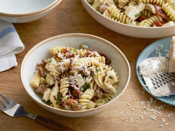 Fusilli with Sausage, Artichokes, and Sun-Dried Tomatoes recipe from Giada De Laurentiis via Food Network