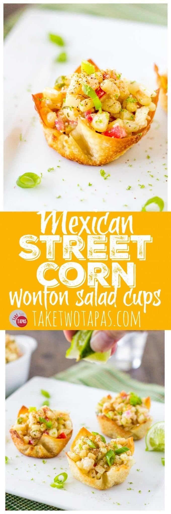 These Mexican Street Corn Salad Wonton Cups are the bomb! Roasted corn combined with jalapeno, red onions, sour cream, Cojita cheese, and some chili powder for spice makes a great party appetizer or side dish. Mexican Street Corn Salad Wonton Cups Recipe | Take Two Tapas