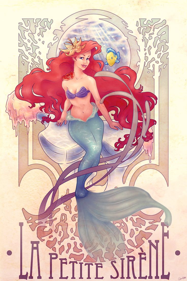 "Mucha style - "" #TheLittleMermaid"" "" #DisneyPrincesses"" "" #Disney"" Illustration in style of ""Alphonse Mucha"" by ""chill07"" on @deviantART"