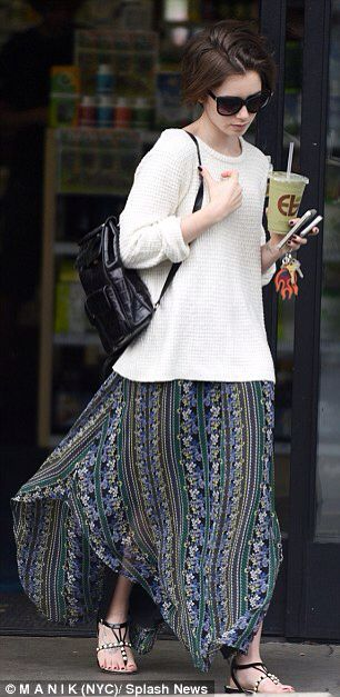 Lily Collins brings a hippie style to her smoothie run