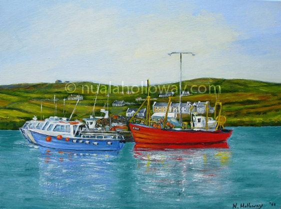 """""""Boats at Portmagee"""" by Nuala Holloway - Oil on Canvas #Kerry #Boats #OilPainting"""