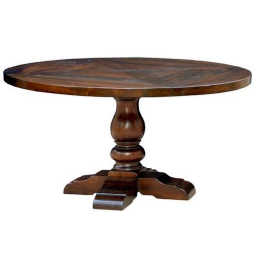 54 round reclaimed rustic dining table distressed x inlay for Distressed round dining table