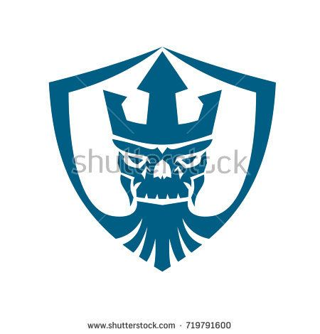 Icon style illustration of Skull of Neptune wearing Trident Crown with beard set inside Crest shield on isolated background.  #Neptune #icon #illustration