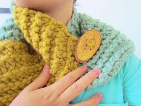 ginger mustard mint turquoise wrap neck warmer button up scarf on Etsy, $20.00
