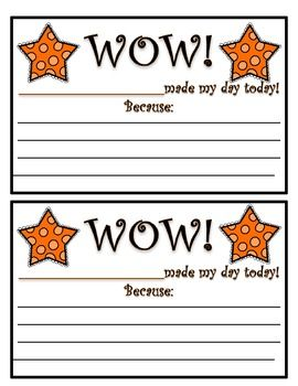 This Wow! Positive Note Home product is a sample page from my Polka Dots Teacher Binder product. This note can be sent home to promote positive behavior in the classroom. Please feel free to download and print this item as much as you would like. Please do not take credit for this item and do not email/give this item to other.