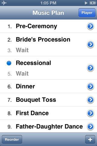 """""""MY WEDDING DJ"""" PHONE APP -  """"Running your music on an iPod can be great, but not if the wrong song comes on or the music cuts out. That's why WeddingDJ helps you plan out all the music you need at your wedding, using the songs and playlists you have in iTunes. When the big day comes, you hand it off to your MC, who simply needs to slide """"next"""" for each part of your wedding!"""""""