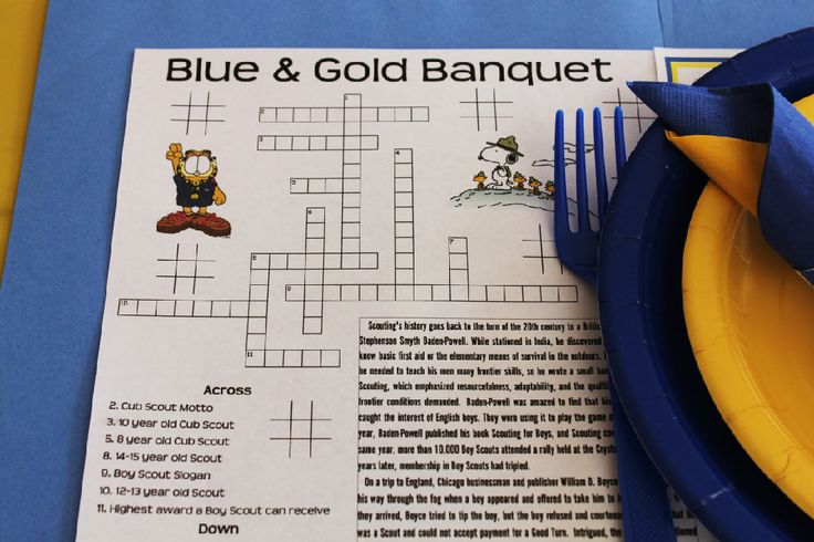 Blue and Gold Placemat Preopener Printable Worksheet for the Blue & Gold - Cub Scout Crossword Puzzle - Cub Scout History - Rebus Puzzle