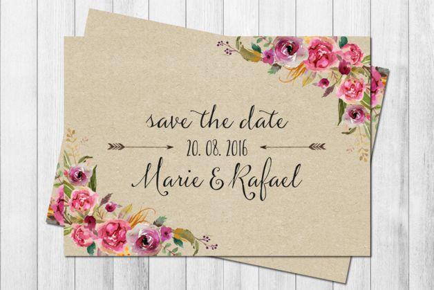 **SAVE THE DATE** _50 Karten im Set Design: WILD LOVE KRAFT_  Mit diesen Karten vergisst sicher niemand so schnell deine Hochzeit!  Wir lieben einfach den roten Faden, der sich von vorne bis...