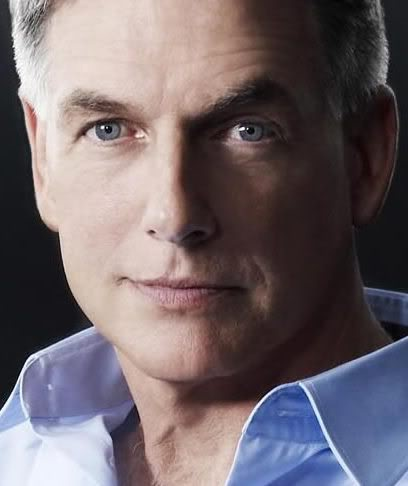 Blue shirt, blue eyes... footnote: Mark Harmon constantly gets shirts from fans, in turn he wears one of them on NCIS.
