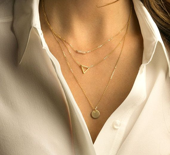 Delicate Layering Necklaces / Thin Gold Chain (or Silver) / Dainty Set of Layered And Long Necklaces with Gemstone Bar, Triangle, Disc LS930