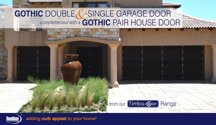 The Gothic Style from our Timba-dor™ Range is one of our most popular designs which South African's love. This home as it all! A Gothic Double and Single garage door with a Gothic Pair house door to compliment this homes architectural style. When going for this look don't forget to add a d-force™ Automatic Overhead Garage Door Opener for that extra convenience and safety. www.doorzonesa.com