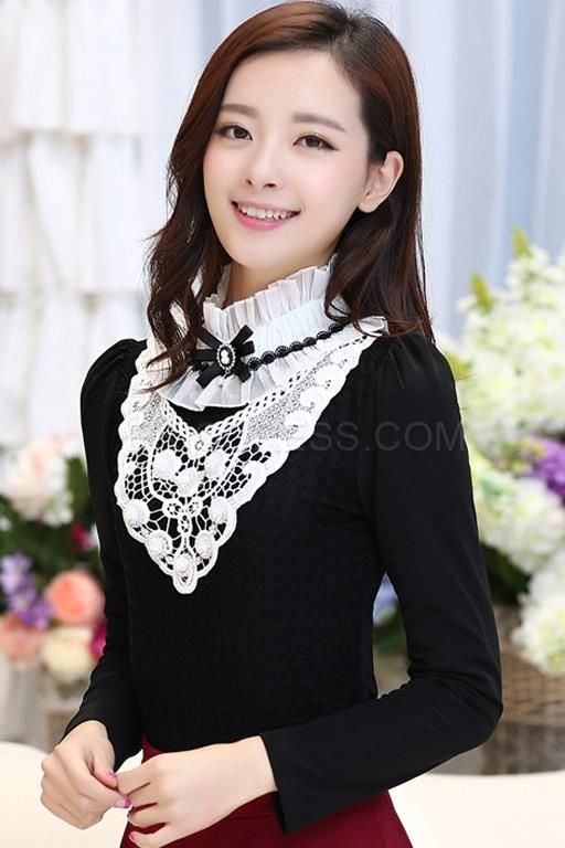 sweet black and white blouse in summer,black cheap blouse online