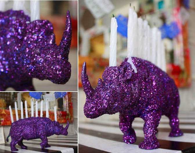 Aunt Peaches: Rhinestone Rhinoceros Menorah