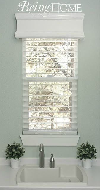 """This image, if you click on it, leads you to a blog tutorial giving you simple instructions on how to construct your own Cornice Box. It can be used for blinds as shown or lace curtains, drapery tiebacks or all alone. Good project for the """"honey do"""" category."""