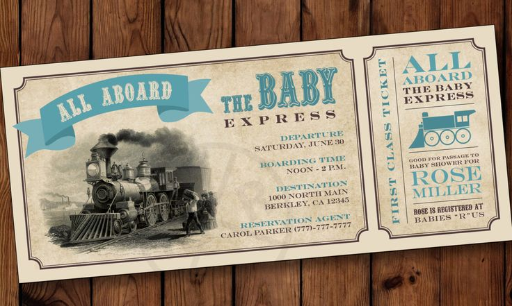 All Aboard Train Ticket Baby Shower Invitation, Train Ticket Baby Shower Invitation, Train Baby Shower, Vintage Train Baby Shower by PartiesbytheBundle on Etsy https://www.etsy.com/listing/252995072/all-aboard-train-ticket-baby-shower