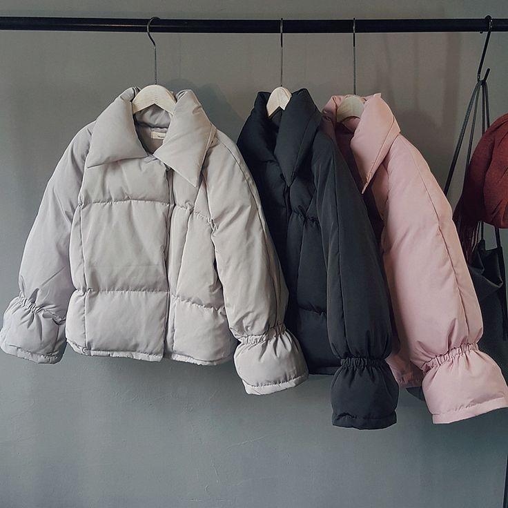 2016 зима розовый теплый пуховики женский розовый полный рукав turn down воротник мода твердые короткие серый толстые ветровки пальто черный купить на AliExpress