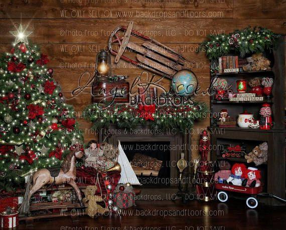Santa S Workshop Photography Backdrop 8x10 Fleece Material Christmas Tree Fireplace Rocking Horse Garland Vintage Toys Sled Christmas Photography Backdrops Christmas Backdrops Christmas Photography