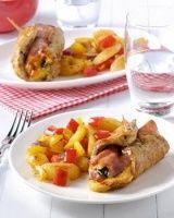 Vleesrolletjes met ham en kaas en gebakken aardappelpartjes