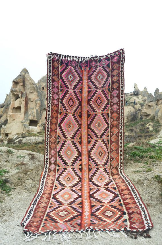 kilim runner pink geometric design bright pastel colours Designer Rugs, Modern rugs, Rugs  handknotted eco friendly rugs cheap rugs online by kayakilims on Etsy https://www.etsy.com/listing/211698848/kilim-runner-pink-geometric-design