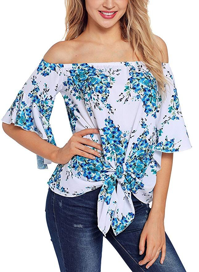 5c97249c9b692 Asvivid Womens Floral Print Off The Shoulder Flare Sleeve T-Shirt Tie Knot  Blouses and Tops Small Blue summer fashion womens fall fashion workwear  fashion ...