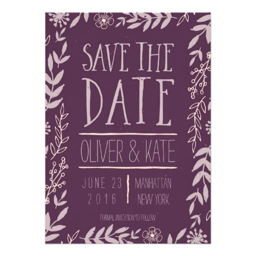 Rustic Floral Purple Save the Date by Rosewood and Citrus on Zazzle