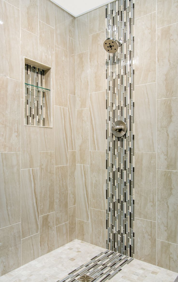 Cappuccino Colored Marble Focal Point Bathroom Shower Tile Waldron Stria Glass And Stone