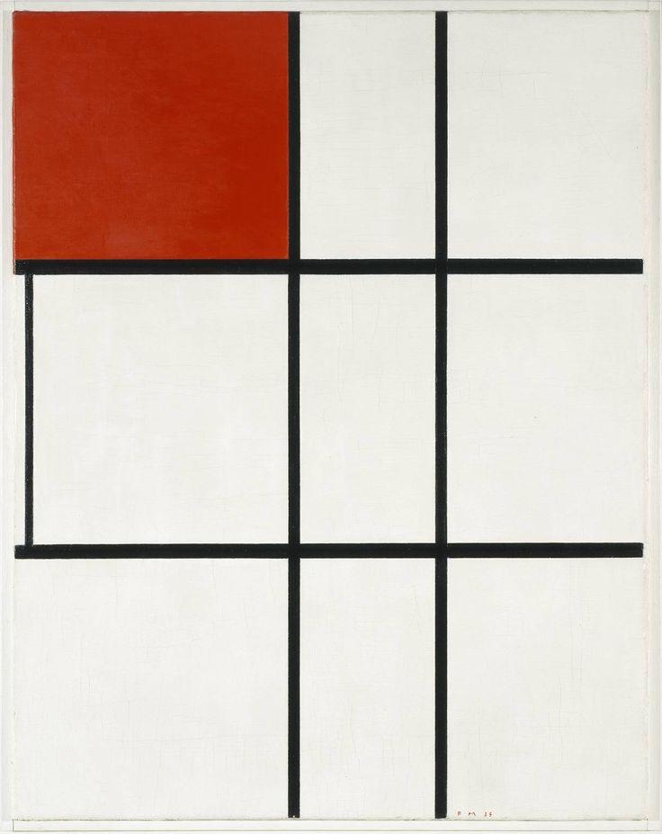 피에 몬드리안 - Composition B (No.II) with Red 1935  신조형주의 내가 알던 몬드리안의 유면한 작품과 유사하지만 노랑, 파랑이 빠지고 붉은색과 흰면위의 선으로 이렇게 공간을 표현할 수 도 있는 것을 배웠다.