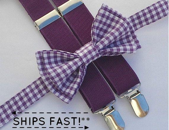 Purple Bow Tie & Eggplant Purple Suspenders Ring by armoniia