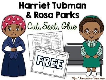 Free - Black History Month - ActivityThis activity will give your students a chance to compare and contrast two great women in American history - Harriet Tubman and Rosa Parks. Students will cut out the phrases then sort and glue them in the correct column. ****************************************************************You may also like: Reading Skills - Finding Text Evidence Passages  Close Reading Seasonal Bundle (Grades 2-3) Close Reading Seasonal Bundle (Grades 3-5)  Science - Finding…